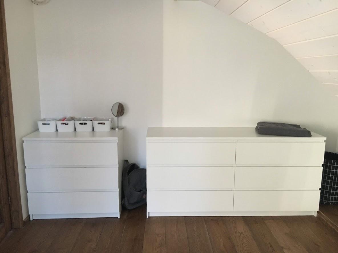 Valge Ikea malm kummut